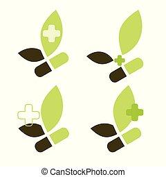 compagnie pharmaceutique, ensemble, vert, logo