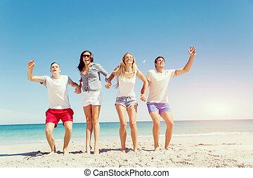 compagnie, plage, jeunes