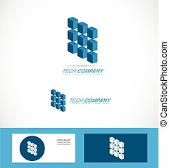 compagnie, technologie, logo, technologie, symbole, puce