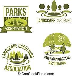 compagnie, vecteur, jardinage, paysage, icônes