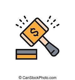 compagnie, ventes colorent, marché, icon., marteau, ligne, enchère, marteau, plat, stockage