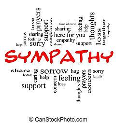 compaixão, palavra, nuvem, conceito, em, vermelho, bonés