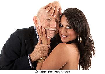 companheiro, ricos, esposa, homem, ou, idoso, gold-digger