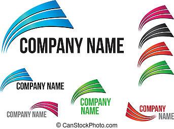 companhia, (business), logotipo, arcos, desenho
