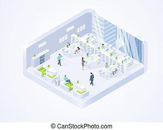 companhia, centro, escritório, negócio, coworking, interior
