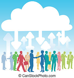 companhia, comércio pessoas, aquilo, nuvem, computando