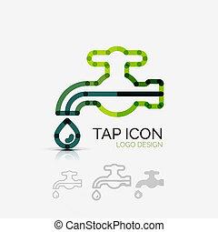 companhia, conceito, torneira, logotipo, negócio