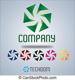 companhia, logotipo, desenho, vento, roda