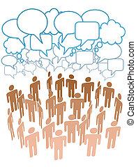 companhia, pessoas, grupo, conversa, rede, social, mídia