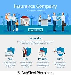 companhia seguro, um, página, site web