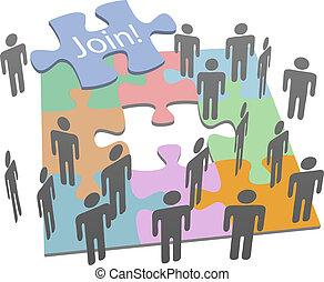 companhia, social, juntar, quebra-cabeça, pessoas