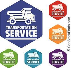 companhia, vetorial, transporte, hexahedron, ícones