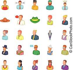 Companion icons set, cartoon style