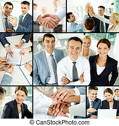 Companionship - Collage of business group in office during...