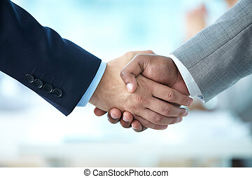 Companionship - Close-up of handshake of business partners