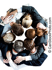 Companionship - Above view of several business partners...