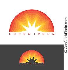company., ビジネス, 抽象的, logotype, emblem., テンプレート, ロゴ, 夜明け,...