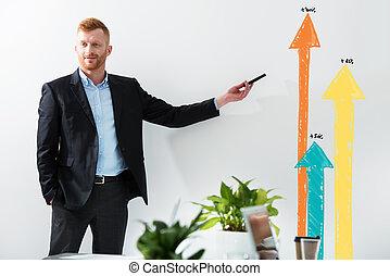 company., 他的, 畫, 成功, 積極, 概念, 商人, 統計數字
