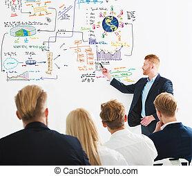 company., 概念, 商业, 启动, 规划, 商人, 在期间, 新, 会议, 图