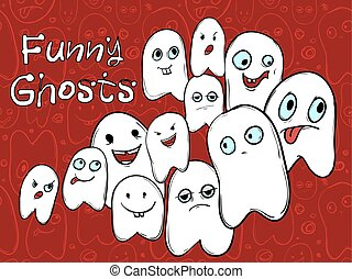 Company amusing ghosts with different emotions. Halloween. Vector