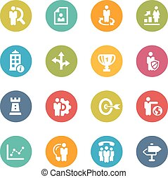 Company and Business Strategies - Icons and buttons in...