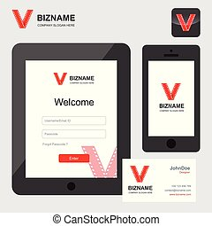 Company app login design in tablet and phone vector with video logo