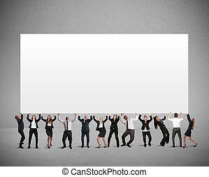 Company banner - Business people holds a blank banner for...