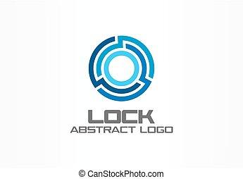 company., beschermen, zakelijk, abstract, globe, slot, verbinden, ontwerp, identiteit, logo, cirkel, collectief, concept., element., integreren