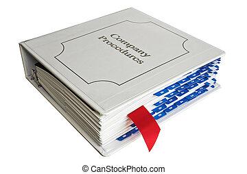 Company binder - Company procedures binder with red bookmark