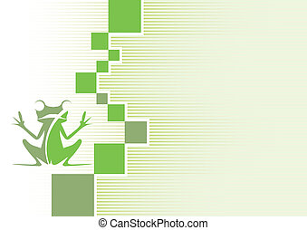 company brand with a frog on a green background