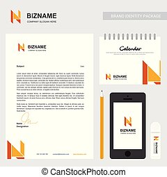 Company brochure with creative design vector with n logo
