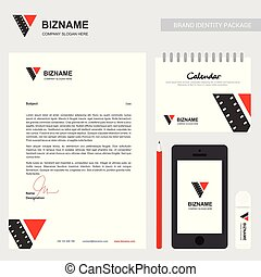 Company brochure with creative design vector with video logo