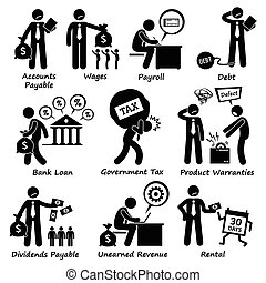 Human pictogram and icons depicting all liabilities that a company has.