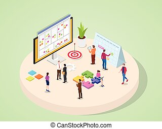 Company business people legal marketing finance accounting and other department work together in team project management concept with isometric isometry 3d flat cartoon style
