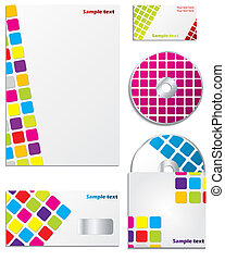 Company business set with vivid colors