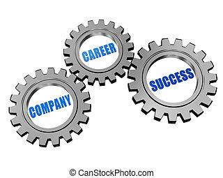 company, career, success in silver grey gears