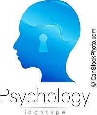 company., colorare, moderno, isolato, disegno, logotipo, style., blu, scheda, concept., logotype, creativo, fondo., vector., bianco, simbolo, profilo, testa, marca, web, human., stampa, psychology., flyer.