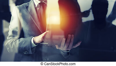 company., concept, dubbel, start, laptop., zijn, zakenlieden, werken, blootstelling
