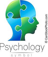 company., cor, modernos, puzzle., sinal, desenho, style., azul, concept., isolado, criativo, experiência., vector., impressão, branca, símbolo, perfil, cabeça, marca, teia, human., ícone, psychology., verde