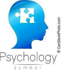 company., cor, modernos, puzzle., sinal, desenho, style., azul, concept., isolado, criativo, experiência., vector., impressão, branca, símbolo, perfil, cabeça, marca, teia, human., ícone, psychology.
