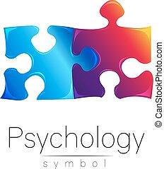 company., cor, modernos, puzzle., sinal, desenho, violeta, style., azul, concept., isolado, criativo, experiência., vector., impressão, branca, símbolo, psi, marca, teia, ícone, psychology.