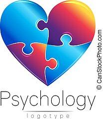 company., cor, quebra-cabeça, modernos, desenho, logotipo, style., azul, heart., cartão, concept., logotype, criativo, experiência., vector., branca, símbolo, vermelho, marca, teia, aflição, impressão, psychology., flyer.