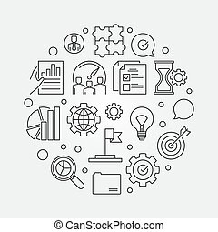 Company core values vector circular line illustration