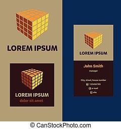 company., cube, business, vecteur, logo, construction, carte