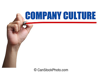 Company Culture Concept - Hand is drawing a red line under...