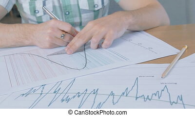 company., documents, fonctionnement, séance, jeune, employé, table, mâle