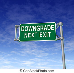 Company downgrade symbol on a green highway sign ...