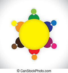 Company employees or staff members togther as a team- vector graphic. This colorful illustration also represents kids playing together, social network, team building, round table meetings, etc