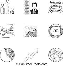 Company icons set, hand drawn style