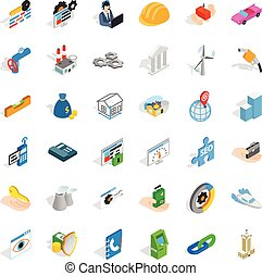Company icons set, isometric style - Company icons set....